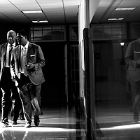 NORRISTOWN, PA - APRIL 5: Bill Cosby is reflected while walking through the Montgomery County Courthouse with his aide and spokesman Andrew Wyatt during jury selection for his sexual assault retrial April 5, 2018 in Norristown, Pennsylvania. A former Temple University employee alleges that the entertainer drugged and molested her in 2004 at his home in suburban Philadelphia. More than 40 women have accused the 80 year old entertainer of sexual assault. (Photo by Mark Makela/Getty Images)