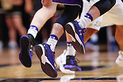 WEST LAFAYETTE, IN - DECEMBER 03: A detailed view of a Northwestern Wildcats basketball players Under Armour shoes during the game against the Purdue Boilermakers at Mackey Arena on December 3, 2017 in West Lafayette, Indiana. (Photo by Michael Hickey/Getty Images)