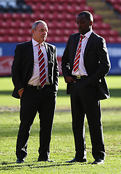 Charlton Athletic Manager, Chris Powell discusses the state of the pitch with ex-player and football adviser Keith Peacock- Photo mandatory by-line: Robin White/JMP - Tel: Mobile: 07966 386802 11/01/2014 - SPORT - FOOTBALL - The Valley - Charlton - Charlton Athletic v Barnsley - Sky Bet Championship
