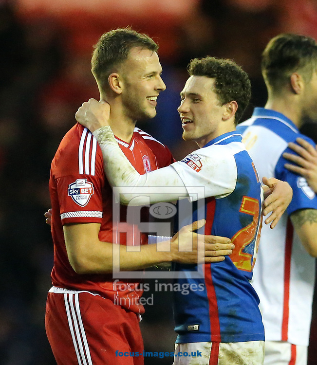 Jordan Rhodes (l) of Middlesbrough and Corry Evans of Blackburn Rovers after the Sky Bet Championship match at the Riverside Stadium, Middlesbrough<br /> Picture by Simon Moore/Focus Images Ltd 07807 671782<br /> 06/02/2016
