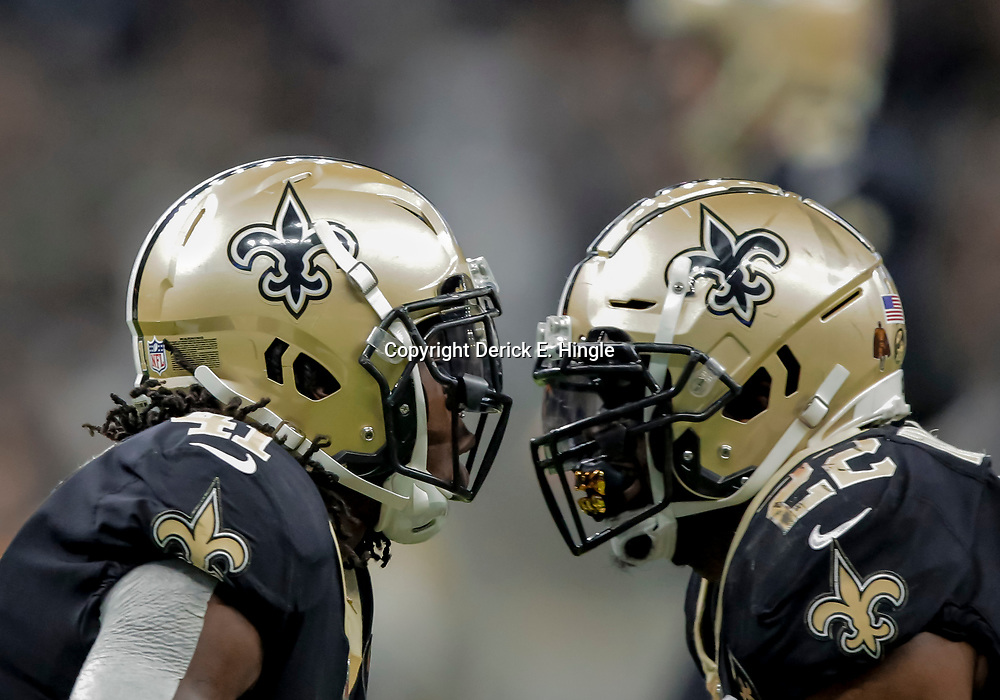 Dec 23, 2018; New Orleans, LA, USA; New Orleans Saints running back Alvin Kamara (41) celebrates with running back Mark Ingram II (22) after a touchdown against the Pittsburgh Steelers during the second quarter at the Mercedes-Benz Superdome. Mandatory Credit: Derick E. Hingle-USA TODAY Sports