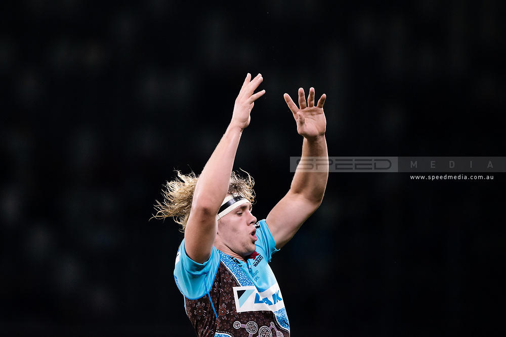 SYDNEY, AUSTRALIA - MAY 25: Waratahs player Ned Hanigan (4) goes up for the ball at week 15 of Super Rugby between NSW Waratahs and Jaguares on May 25, 2019 at Western Sydney Stadium in NSW, Australia. (Photo by Speed Media/Icon Sportswire)