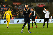 Kemar Roofe (7) of Leeds United applauds the Leeds fans after a 2-2 draw during the EFL Sky Bet Championship match between Swansea City and Leeds United at the Liberty Stadium, Swansea, Wales on 21 August 2018.