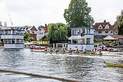 Henley on Thames, England, United Kingdom, 7th July 2019, Henley Royal Regatta, Finals Day, The Thames Challenge Cup, Roeivereeniging Studenten Vreie Universiteit Okeanos, Netherlands, crossing the line ahead of Thames Rowing Club A, Henley Reach, [© Peter SPURRIER/Intersport Image]<br /><br />16:07:07 1919 - 2019, Royal Henley Peace Regatta Centenary,