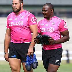DURBAN, SOUTH AFRICA - APRIL 12: Thomas du Toit of the Cell C Sharks and Chiliboy Ralepelle of the Cell C Sharks during the Cell C Sharks training session and press conference at Jonsson Kings Park on April 12, 2018 in Durban, South Africa. (Photo by Steve Haag/Gallo Images)