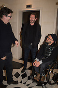 MARK WALLINGER; LIAM GILLICK; RYAN MCKINLEY, Anish Kapoor and Lee Ufan preview dinner hosted by the Lisson Gallery after the opening on Bell St. The Connaught. London. 23 March 2015