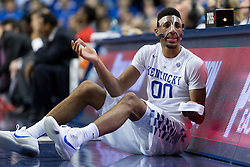 Kentucky forward Marcus Lee was still sporting a mask after an injury sustained at the UCLA game. After the game Kentucky head coach John Calipari said it was precautionary since in practice Lee had been having nose bleeds when bumped. The University of Kentucky hosted Ole Miss, Saturday, Jan. 02, 2016 at Rupp Arena in Lexington.