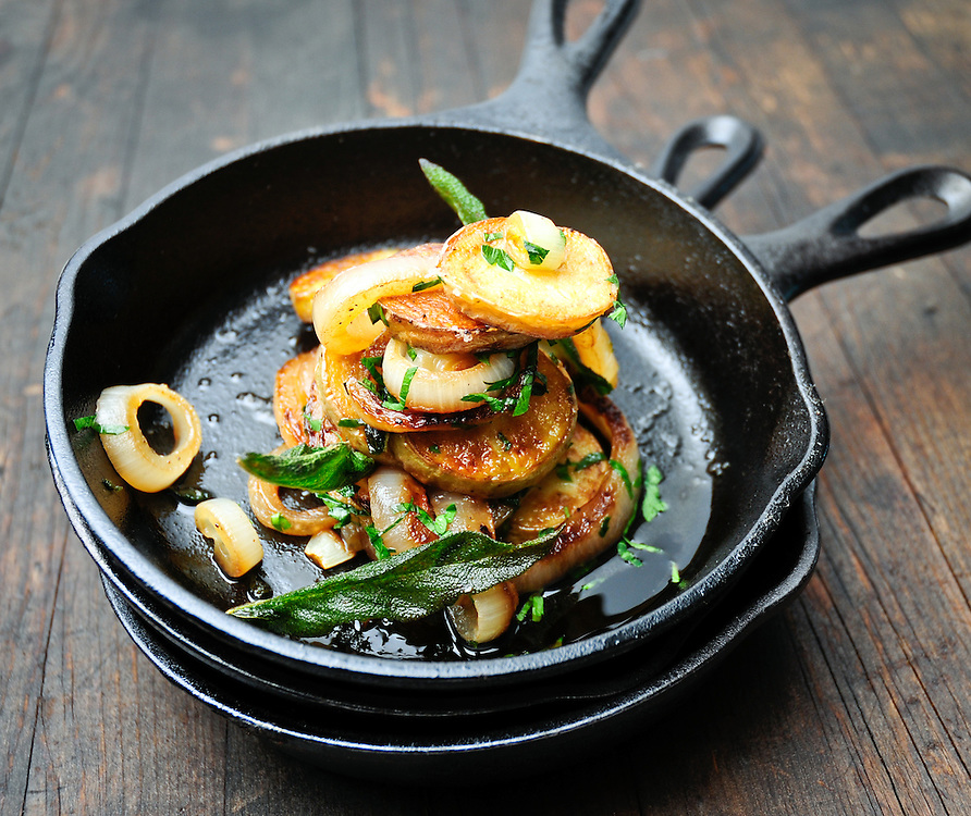 Crisp Potatoes with Onions and Sage