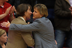Dec 20, 2011; Stanford CA, USA;  Stanford Cardinal head coach Tara VanDerveer (left) hugs Tennessee Lady Volunteers assistant head coach Holly Warlick (right) before the game at Maples Pavilion.  Stanford defeated Tennessee 97-80. Mandatory Credit: Jason O. Watson-US PRESSWIRE