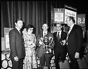 Bandon Co-op Wins Read Cup.      (N74).1981..07.05.1981..05.07.1981..7th May 1981..The B & I Line Read Cup,for butter making,has been won by Bandon Co-op for the first time since the award was introduced 52 years ago...Image shows (L-R),Mr Frank Scully, Assistant Chief Executive,B & I Line; Ms Kitt Coffey, Head Buttermaker at Bandon Co-op, with her medal award; Mr Paddy Hayes, Chairman, Bandon Co-op, holding the Read Cup; Mr Michael O'Keefe, Chairman, B & I Line and Mr Michael Fitzgibbon, General Manager, Bandon Co-op,with his medal award after the presentations.