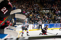 KELOWNA, CANADA - MARCH 1: Nick Merkley #10 of the Kelowna Rockets passes the puck out of the corner against the Prince George Cougars on MARCH 1, 2017 at Prospera Place in Kelowna, British Columbia, Canada.  (Photo by Marissa Baecker/Shoot the Breeze)  *** Local Caption ***