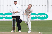 Matt Parkinson bowling during the Specsavers County Champ Div 2 match between Leicestershire County Cricket Club and Lancashire County Cricket Club at the Fischer County Ground, Grace Road, Leicester, United Kingdom on 26 September 2019.