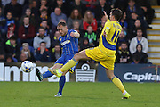 Barry Fuller (Captain) defender for AFC Wimbledon (2) clears the ball during the Sky Bet League 2 Play-Off first leg match between AFC Wimbledon and Accrington Stanley at the Cherry Red Records Stadium, Kingston, England on 14 May 2016. Photo by Stuart Butcher.