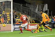 Nottingham Forest striker Chris O'Grady scores but goal is disallowed during the Sky Bet Championship match between Wolverhampton Wanderers and Nottingham Forest at Molineux, Wolverhampton, England on 11 December 2015. Photo by Alan Franklin.