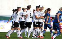 Fifa Womans World Cup Canada 2015 - Preview //<br /> Algarve Cup 2015 Tournament ( Vila Real San Antonio Sport Complex - Portugal ) - <br /> Germany vs Sweden 2-4   -  Dzsenifer Marozsan of Germany (Middle) celebrates with team mates after his goal (1-0)
