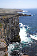 Steep cliffs Dún Aengus fort Inishmore, Aran Islands, County Clare, Ireland