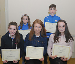 Westport Athletic Club Awards,<br />Mayo Medalist 2017, Back Saoirse and Ethan McGing,<br />Front Eabha Carney, Katie Chambers and Eimear Corduff.<br />Pic Conor McKeown