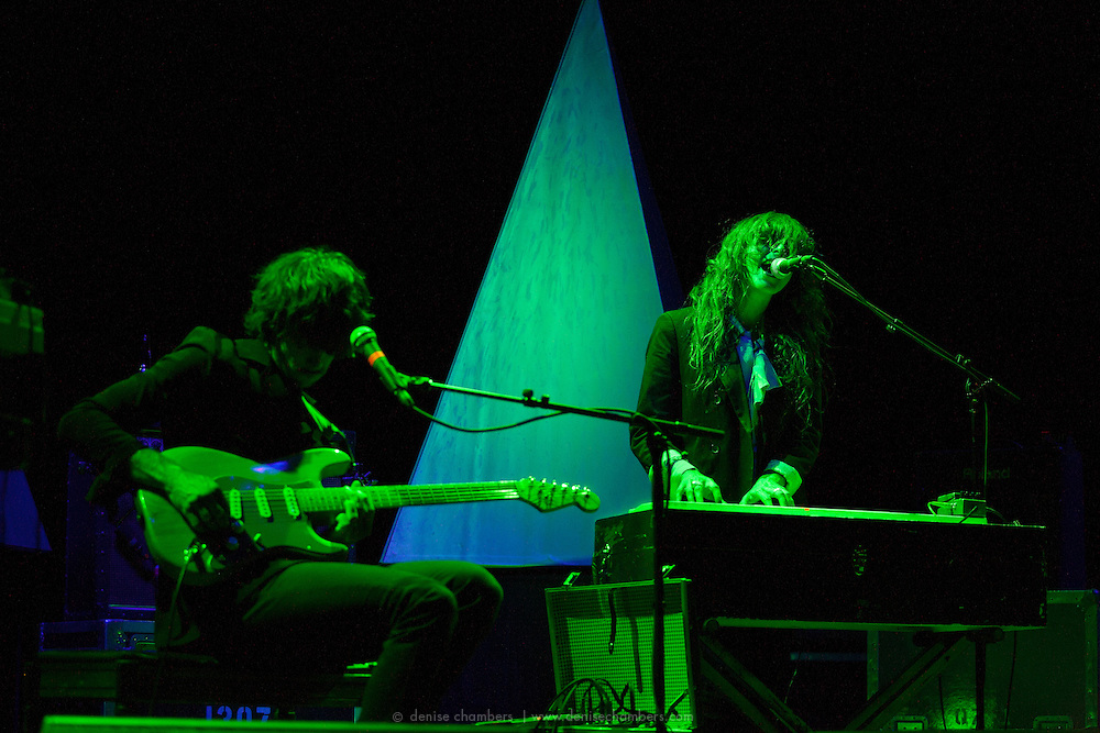 "Alex Scally (L) and Victoria Legrand of Beach House perform on September 3, 2010 in support of ""Teen Dream"" at Red Rocks Amphitheater in Morrison, Colorado."