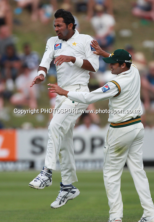 Wahab Riaz celebrates taking the wicket of Ross Taylor during play on Day 1 of the 2nd test match.  New Zealand Black Caps v Pakistan, Test Match Cricket. Basin Reserve, Wellington, New Zealand. Saturday 15 January 2011. Photo: Andrew Cornaga/photosport.co.nz