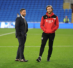 Bristol City head coach Lee Johnson  talks with Adam Matthews of Bristol City - Mandatory by-line: Alex James/JMP - 14/10/2016 -  FOOTBALL - Cardiff City Stadium - Cardiff, Wales -  Cardiff City v Bristol City - Sky Bet Championship