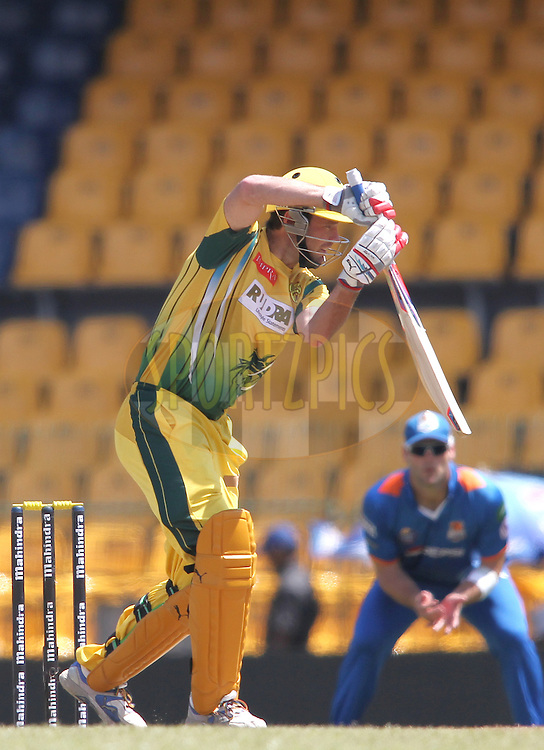 Rob Quiney of Uthura Rudras plays a delivery through the covers during match 19 of the Sri Lankan Premier League between Uthura Rudras and Nagenahiras held at the Premadasa Stadium in Colombo, Sri Lanka on the 26th August 2012. .Photo by Shaun Roy/SPORTZPICS/SLPL
