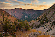Sunrise in Idaho's Pioneer Mountains from saddle above/between Moose Lake and Fall Creek Canyon