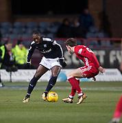 8th December 2017, Dens Park, Dundee, Scotland; Scottish Premier League football, Dundee versus Aberdeen; Dundee's Roarie Deacon and. Aberdeen's Ryan Christie
