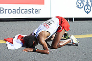 Yared Shegumo from Poland celebrates his silver medal in men's marathon during the Sixth Day of the European Athletics Championships Zurich 2014 at Letzigrund Stadium in Zurich, Switzerland.<br /> <br /> Switzerland, Zurich, August 17, 2014<br /> <br /> Picture also available in RAW (NEF) or TIFF format on special request.<br /> <br /> For editorial use only. Any commercial or promotional use requires permission.<br /> <br /> Photo by © Adam Nurkiewicz / Mediasport