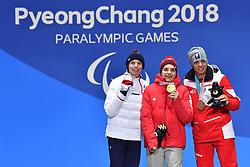 BAUCHET_Arthur, GMUR_Theo, SALCHER_Markus, ParaSkiAlpin, Para Alpine Skiing, Super G, Podium at PyeongChang2018 Winter Paralympic Games, South Korea.