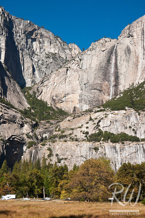 Yosemite Falls With Rare Display of Running Water During Fall Season, Yosemite National Park, California
