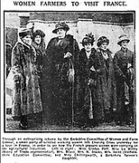 Holding the Home Front<br /> The Women&rsquo;s Land Army in the First World War book by Pen and sward<br /> <br /> Within days of the start of the First World War there were calls for women to come to the fields, but it would be almost three years before the Women&rsquo;s Land Army was established. In that time though, various private and public initiatives would be launched to pull women onto the land. The Women&rsquo;s Land Army would be shaped as much by the successes and failures of these earlier enterprises as by the precise requirements of 1917. It was a process of evolution, not revolution, and agricultural policy had also evolved over the course of the first three years of the war. By the spring of 1917 farmers were being called upon to plough out, to push back the borders and extend the cultivated acreage back to the highs of the 1870s. Agriculture would thus need most labour just as it had least available. Britain&rsquo;s food security had never looked most precarious than it did at the start of 1917.<br /> <br /> Photo Shows: Women&rsquo;s trip to observe French farm work. Birmingham Daily Gazette, 24 February 1916.<br /> &copy;Pen and sward/Exclusivepix Media