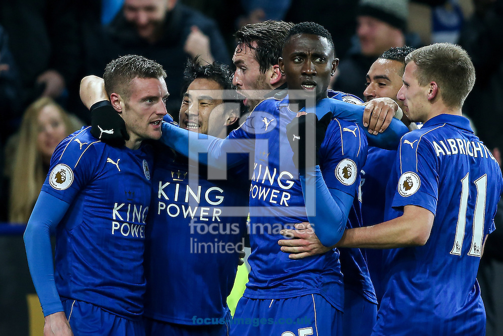 Jamie Vardy of Leicester City (left) celebrates with his team mates after scoring during the Premier League match at the King Power Stadium, Leicester<br /> Picture by Andy Kearns/Focus Images Ltd 0781 864 4264<br /> 27/02/2017
