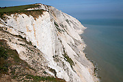 Steep chalk and flint cliffs at Beachy Head, East Sussex, England - a notorious suicide spot