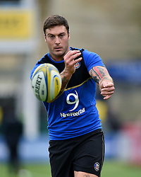 Matt Banahan of Bath Rugby passes the ball during the pre-match warm-up - Mandatory byline: Patrick Khachfe/JMP - 07966 386802 - 10/10/2015 - RUGBY UNION - The Recreation Ground - Bath, England - Bath Rugby v Exeter Chiefs - West Country Challenge Cup.