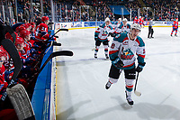KELOWNA, CANADA - MARCH 13:  Michael Farren #16 of the Kelowna Rockets skates past the Spokane Chiefs bench to celebrate a third period goal on March 13, 2019 at Prospera Place in Kelowna, British Columbia, Canada.  (Photo by Marissa Baecker/Shoot the Breeze)