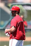 ANAHEIM, CA - APRIL 30:  Ian Stewart #44 of the Los Angeles Angels of Anaheim looks on during batting practice before the game against the Cleveland Indians at Angel Stadium on Wednesday, April 30, 2014 in Anaheim, California. The Angels won the game 7-1. (Photo by Paul Spinelli/MLB Photos via Getty Images) *** Local Caption *** Ian Stewart