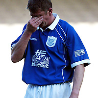 Motherwell v St Johnstone   06.04.02<br />Jim Weir reacts as St Johnstone are relegated<br /><br />Pic by Graeme Hart<br />Copyright Perthshire Picture Agency<br />Tel: 01738 623350 / 07990 594431