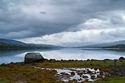 Peaceful scene at Loch Eil, a sea loch in Lochaber, Scotland that opens into Loch Linnhe near Fort William, Scottish Highlands