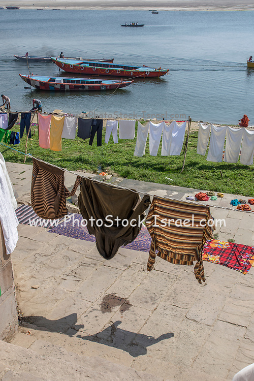 Laundry day on the Ganges river, Varanasi, Uttar Pradesh, India. Clothes and linen are washed in the river and spread to dry on the river's bank