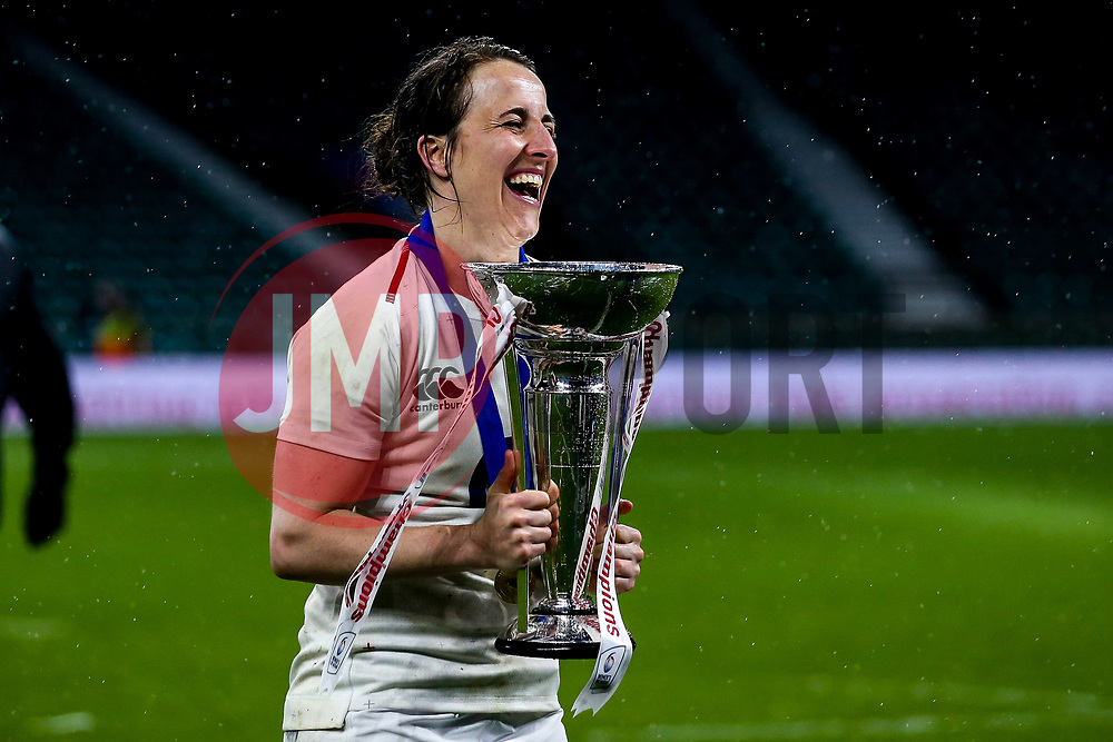 Katy Daley-Mclean of England Women celebrates winning the Women's Six Nations and Grand Slam- Mandatory by-line: Robbie Stephenson/JMP - 16/03/2019 - RUGBY - Twickenham Stadium - London, England - England Women v Scotland Women - Women's Six Nations