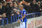 Calvin Andrew celebrates with supporters after the game during the EFL Sky Bet League 1 match between Rochdale and Scunthorpe United at Spotland, Rochdale, England on 10 December 2016. Photo by Daniel Youngs.