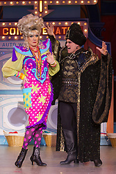 """© Licensed to London News Pictures. 11/12/2012. London, England. Lily Savage/Paul O'Grady as Widow Twankey and Darren Bennet as Abanazar. Lily Savage, aka Paul O'Grady, stars as the Widow Twankey in the Christmas panto """"Aladdin, A Wish Come True"""" at the Theatre at the O2, O2 Arena, London. Photo credit: Bettina Strenske/LNP"""