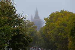 London, October 26 2017. Surrounded by scaffolding as restoration works begin, the Elizabeth Tower which houses Big Ben is partially obscured by fog as London wakes up to a cool, misty autumn morning. © Paul Davey