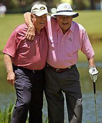 Arnold Palmer, right, and Jack Nicklaus walk up to the No. 3 green during the Greats of Golf exhibition at the Insperity Championship, Saturday, May 4, 2013, at The Woodlands Country Club Tournament Course in The Woodlands, TX.