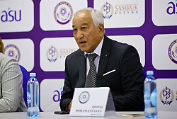 ASTANA, KAZAKHSTAN - Sunday, September 17, 2017: Kazakhstan's manager Aitpay Jamantayev, with gold teeth, during a post-match press conference following the 1-0 defeat to Wales during the FIFA Women's World Cup 2019 Qualifying Round Group 1 match between Kazakhstan and Wales at the Astana Arena. (Pic by David Rawcliffe/Propaganda)