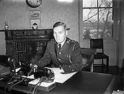 19/01/1955<br /> 01/19/1955<br /> 19 January 1955<br /> <br /> An Garda Síochána  - New Deputy Commissioner Thomas Woods at his Office