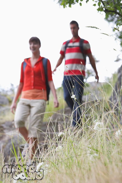 Couple walking in countryside