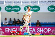 Morne Morkel of Surrey bowling comes close during the Specsavers County Champ Div 1 match between Surrey County Cricket Club and Hampshire County Cricket Club at the Kia Oval, Kennington, United Kingdom on 18 August 2019.