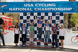 Women's division 2 criterium winners Jen Stebbins (Dartmouth College), Kendi Thomas (Whitman College), Eve McNeill (Dartmouth College), Devon Haskell (University of Chicago), and Tela Crane (Western Washington University).  Podium awards were given out after The 2008 USA Cycling Collegiate National Championships Criterium event held in Fort Collins, CO on May 11, 2008.