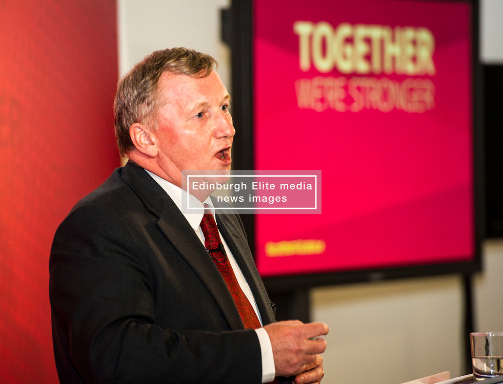 Pictured: Alex Rowley<br /> Scottish Labour leader Kezia Dugdale and deputy leader Alex Rowley had t make swift changes to their respective speeches forllowing the announcement of a General Election in June just before they headed to the lectern at Edinburgh's Dynamic Earth to launch Scottish Labour's council election campaign today. <br /> Ger Harley   EEm 18 April 2017